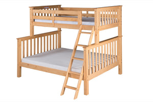 Santa Fe Mission Tall Bunk Bed Twin over Full - Angle Ladder - Natural Finish - SF501_NT-Bunk Beds-HipBeds.com
