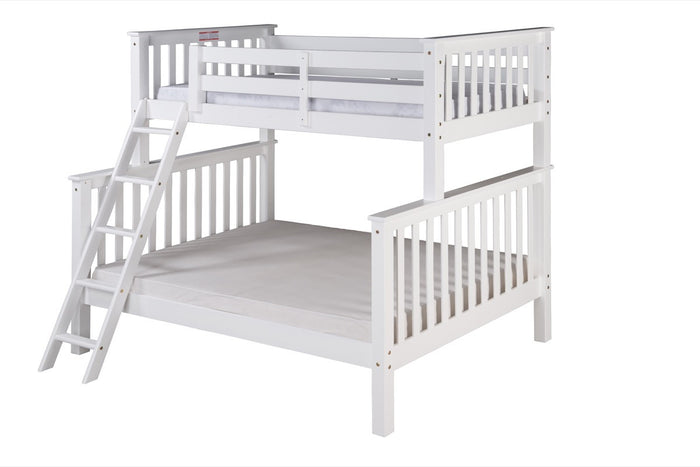 Santa Fe Mission Tall Bunk Bed Twin over Full - Angle Ladder - White Finish - SF503_WH