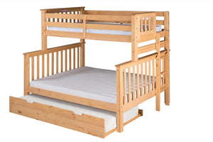 Santa Fe Mission Tall Bunk Bed Twin over Full - Bed End Ladder - Natural Finish - with Twin Size Under Bed Trundle - SF601_TR-Bunk Beds-HipBeds.com