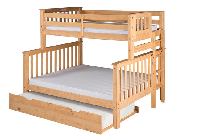 Santa Fe Mission Tall Bunk Bed Twin over Full - Bed End Ladder - Natural Finish - with Twin Size Under Bed Trundle - SF601_TR