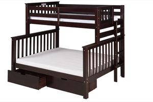 Santa Fe Mission Tall Bunk Bed Twin over Full - Bed End Ladder - Cappuccino Finish - with Under Bed Drawers - SF602_DR-Bunk Beds-HipBeds.com