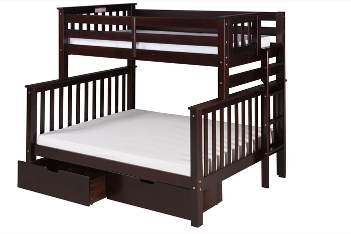 Santa Fe Mission Tall Bunk Bed Twin over Full - Bed End Ladder - Cappuccino Finish - with Under Bed Drawers - SF602_DR