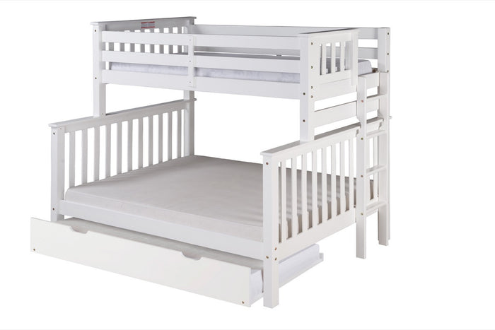 Santa Fe Mission Tall Bunk Bed Twin over Full - Bed End Ladder - White Finish - with Twin Size Under Bed Trundle - SF603_TR