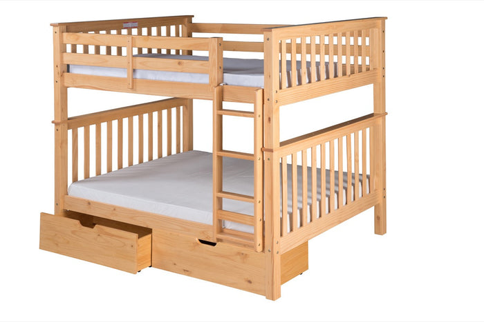 Santa Fe Mission Tall Bunk Bed Full over Full - Attached Ladder - Natural Finish - with Under Bed Drawers - SF701_DR