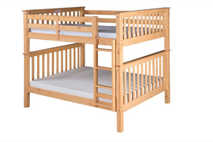 Santa Fe Mission Tall Bunk Bed Full over Full - Attached Ladder - Natural Finish - SF701_NT-Bunk Beds-HipBeds.com