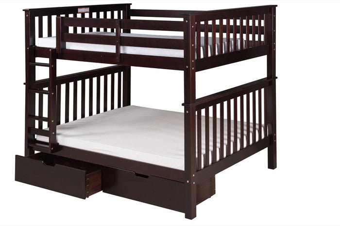Santa Fe Mission Tall Bunk Bed Full over Full - Attached Ladder - Cappuccino Finish - with Under Bed Drawers - SF702_DR