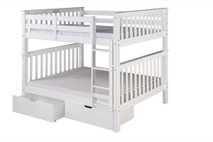 Santa Fe Mission Tall Bunk Bed Full over Full - Attached Ladder - White Finish - with Under Bed Drawers - SF703_DR-Bunk Beds-HipBeds.com