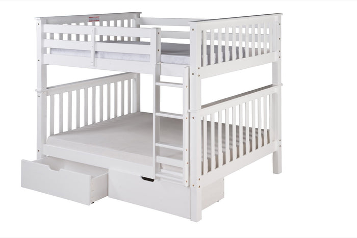 Santa Fe Mission Tall Bunk Bed Full over Full - Attached Ladder - White Finish - with Under Bed Drawers - SF703_DR