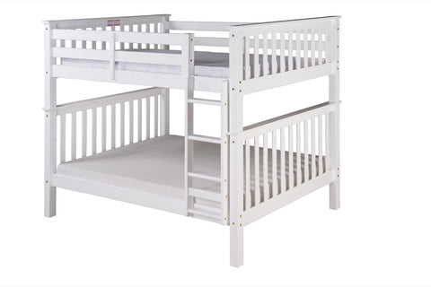 Santa Fe Mission Tall Bunk Bed Full over Full - Attached Ladder - White Finish - SF703_WH-Bunk Beds-HipBeds.com