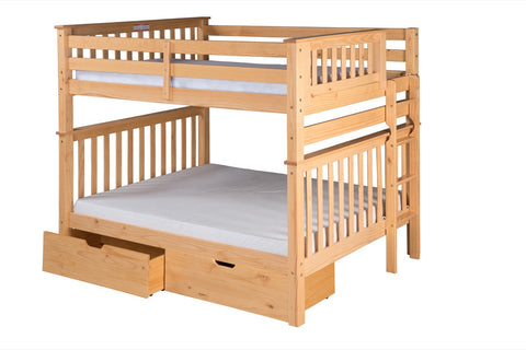 Santa Fe Mission Tall Bunk Bed Full over Full - Bed End Ladder - Natural Finish - with Under Bed Drawers - SF801_DR-Bunk Beds-HipBeds.com