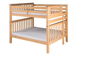 Santa Fe Mission Tall Bunk Bed Full over Full - Bed End Ladder - Natural Finish - SF801_NT-Bunk Beds-HipBeds.com