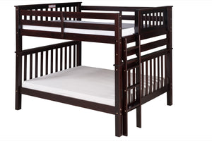 Santa Fe Mission Tall Bunk Bed Full over Full - Bed End Ladder - Cappuccino Finish - SF802_CP-Bunk Beds-HipBeds.com