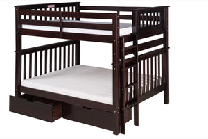 Santa Fe Mission Tall Bunk Bed Full over Full - Bed End Ladder - Cappuccino Finish - with Under Bed Drawers - SF802_DR-Bunk Beds-HipBeds.com