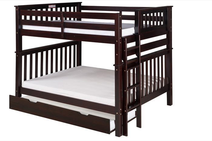 Santa Fe Mission Tall Bunk Bed Full over Full - Bed End Ladder - Cappuccino Finish - with Twin Size Under Bed Trundle - SF802_TR