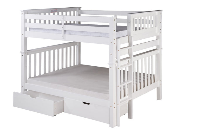 Santa Fe Mission Tall Bunk Bed Full over Full - Bed End Ladder - White Finish - with Under Bed Drawers - SF803_DR