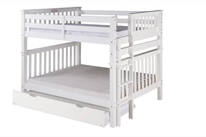 Santa Fe Mission Tall Bunk Bed Full over Full - Bed End Ladder - White Finish - with Twin Size Under Bed Trundle - SF803_TR-Bunk Beds-HipBeds.com