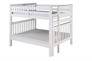 Santa Fe Mission Tall Bunk Bed Full over Full - Bed End Ladder - White Finish - SF803_WH-Bunk Beds-HipBeds.com