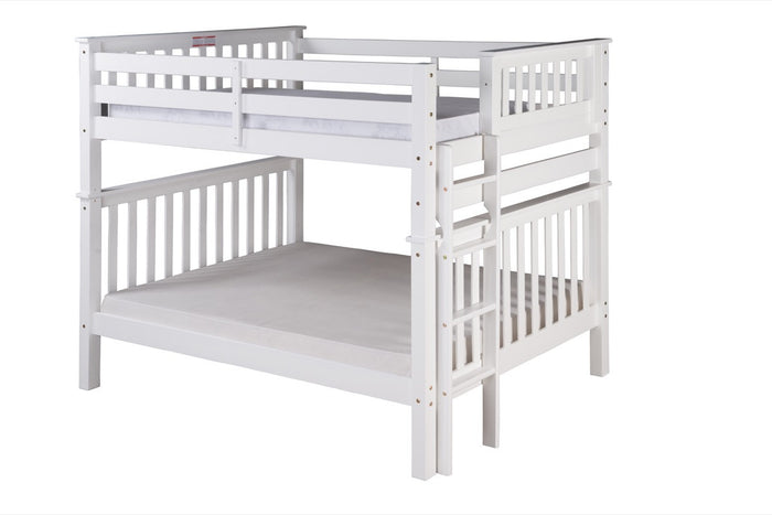 Santa Fe Mission Tall Bunk Bed Full over Full - Bed End Ladder - White Finish - SF803_WH