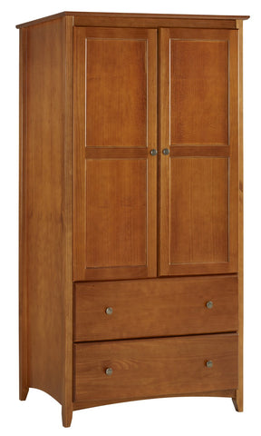 Camaflexi Shaker Style Wardrobe 2 Doors/2 Drawers - Cherry Finish - SHK235-Wardrobes-HipBeds.com