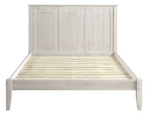 Camaflexi Shaker Style Panel Queen Size Platform Bed - Weathered White Finish - SHK266-Platform Beds-HipBeds.com