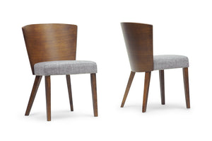 "Baxton Studio Sparrow Brown and ""Gravel"" Wood Modern Dining Chair - Set of 2"