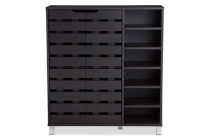 Baxton Studio Shirley Modern and Contemporary Dark Brown Wood 2-Door Shoe Cabinet with Open Shelves
