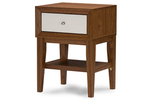 Baxton Studio  Gaston Two-tone Walnut and White Modern Accent Table and Nightstand