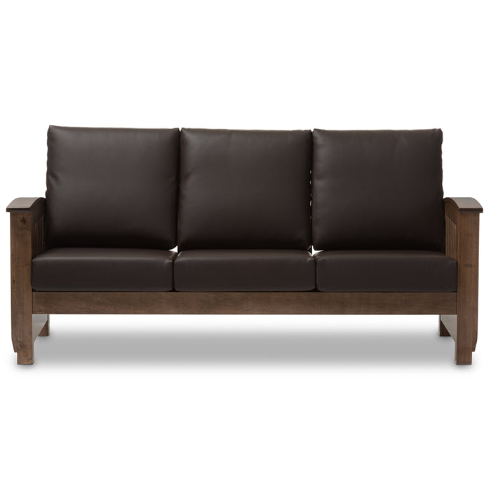 Baxton Studio Charlotte Walnut Brown Wood & Brown Faux Leather 3-Seater Sofa
