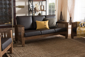 Baxton Studio Charlotte Walnut Brown Wood & Brown Faux Leather 3-Seater Sofa-Sofas-HipBeds.com