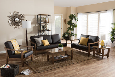 Baxton Studio Pierce Mid-Century Modern Walnut Brown Wood and Dark Brown Faux Leather Living Room 5-Piece Sofa and Occasional Table Set