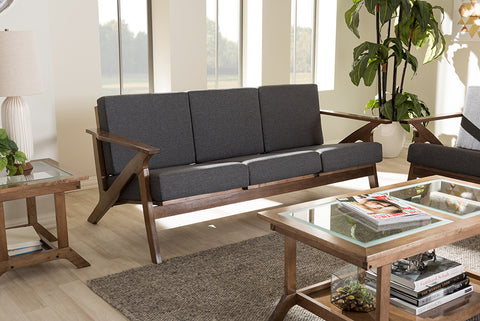 Baxton Studio Cayla Grey Fabric & Walnut Brown Wood Living Room 3-seater Sofa-Sofas-HipBeds.com