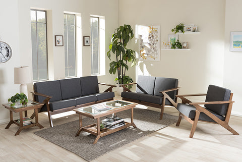 "Baxton Studio Cayla Mid-Century Modern Grey Fabric and ""Walnut"" Brown Wood 5-Piece Living Room Set"
