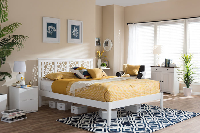 Baxton Studio Celine Modern and Contemporary Geometric Pattern White Solid Wood Queen Size Platform Bed  - White