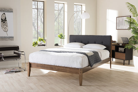 "Baxton Studio Leyton Mid-Century Modern Grey Fabric Upholstered Queen Size Platform Bed - Grey/""Walnut"" Brown-Platform Beds-HipBeds.com"