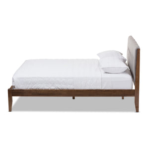 Baxton Studio Leyton Light Grey & Brown Wood King Size Platform Bed - 2