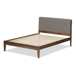 Baxton Studio Leyton Light Grey & Brown Wood King Size Platform Bed - 3