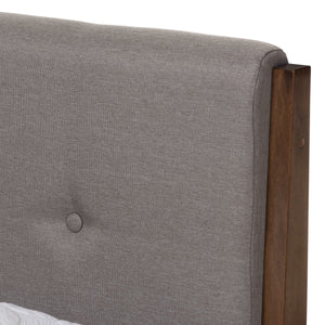 Baxton Studio Leyton Light Grey & Brown Wood King Size Platform Bed - 4