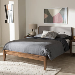 Baxton Studio Leyton Light Grey & Brown Wood King Size Platform Bed - 6