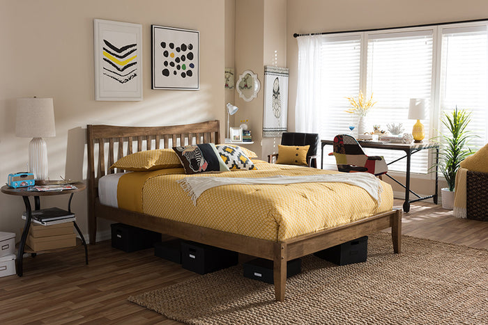 "Baxton Studio Edeline Mid-Century Modern Solid Walnut Wood Curvaceous Slatted Full Size Platform Bed  - ""Walnut"" Brown"