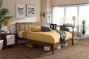 "Baxton Studio Daylan Mid-Century Modern Solid Walnut Wood Slatted King Size Platform Bed - ""Walnut"" Brown-Platform Beds-HipBeds.com"