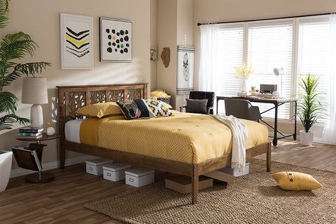 "Baxton Studio Trina Contemporary Tree Branch Inspired Walnut Wood King Size Platform Bed - ""Walnut"" Brown-Platform Beds-HipBeds.com"