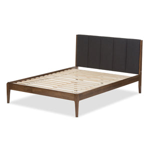 Baxton Studio Ember Grey & Brown Wood Queen Size Platform Bed - 3