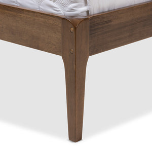 Baxton Studio Ember Grey & Brown Wood Queen Size Platform Bed - 5