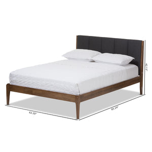 Baxton Studio Ember Grey & Brown Wood Queen Size Platform Bed - 7