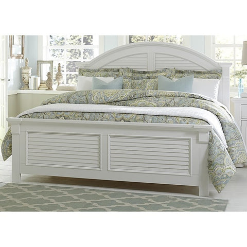 Liberty Furniture Summer House Oyster White Cottage Panel Bed - 607-BR-XPB-Panel Beds-HipBeds.com