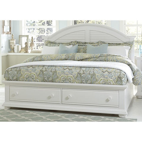 Liberty Furniture Summer House Oyster White Cottage Storage Bed - 607-BR-XSB-Bookcase Beds-HipBeds.com