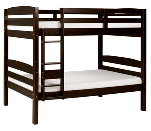 Camaflexi Bunk Bed - Concord Twin Over Twin Bunk Bed - Cappuccino Finish - T1202-Bunk Beds-HipBeds.com