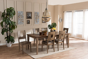 "Baxton Studio Gillian Shabby Chic Country Cottage Weathered Grey and ""Oak"" Brown 2-Tone Finishing Wood Veneer Top 7-Piece Extendable Dining Set"
