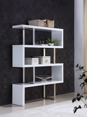 Casabianca SCALA High Gloss White Lacquer Bookcase - TC-0074-WH-Bookcases-HipBeds.com