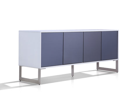 Casabianca CUADRO High Gloss White Lacquer w Mirrored Glass Buffet - TC-0128-WH-Buffets-HipBeds.com